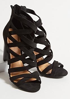 Black Faux Suede Crisscross Strappy Heels