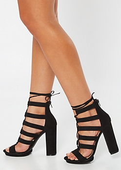 Black Strappy Caged Platform Lace Up Heels