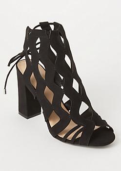 Black Cutout Ankle Tie Heels