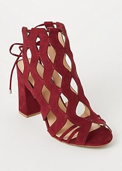 Burgundy Cutout Ankle Tie Heels