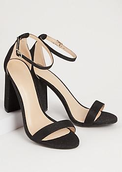 Black Shimmery Strap Open Toe Heels