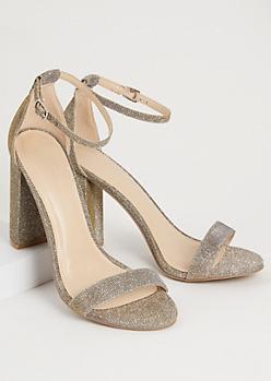Silver Shimmery Strap Open Toe Heels