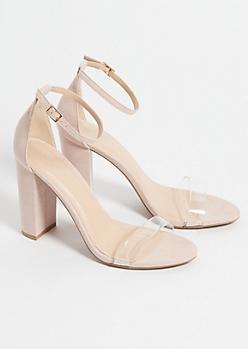 e81b6469b56 Nude Clear Strap Block Heels