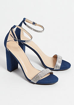 Navy Faux Suede Rhinestone Strap Chunky Heels