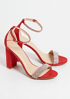 Red Faux Suede Rhinestone Strap Chunky Heels