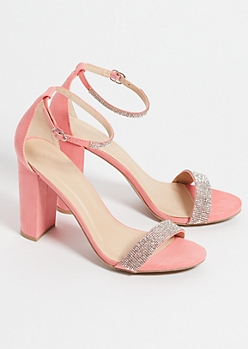 Pink Faux Suede Rhinestone Strap Chunky Heels