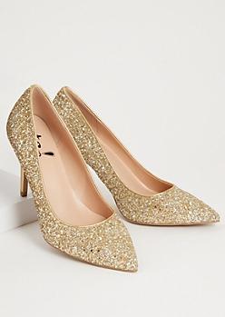Gold Glitter Metallic Stiletto Heels