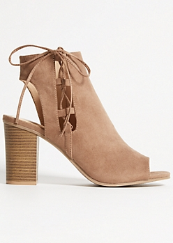 Tan Faux Suede Lace Up Side Heels