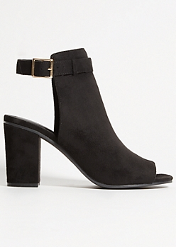 Black Faux Suede Buckled Heels