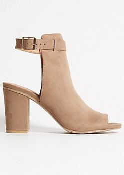 Tan Faux Suede Buckled Heels
