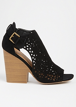 Black Perforated Side Cutout Wedge Heels