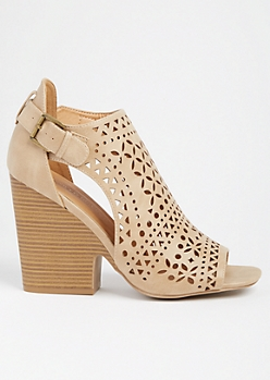 Tan Perforated Side Cutout Wedge Heels