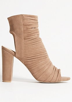Tan Faux Suede Caged Strap Heels