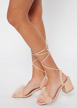 Taupe Boa Square Toe Heels