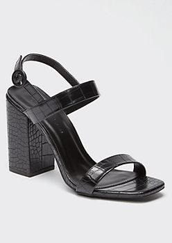 Black Snakeskin Square Toe Slingback Heels