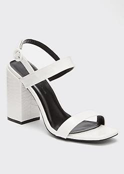 White Snakeskin Square Toe Slingback Heels