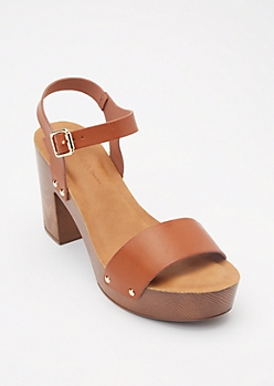 Cognac Faux Leather Wood Strappy Heels