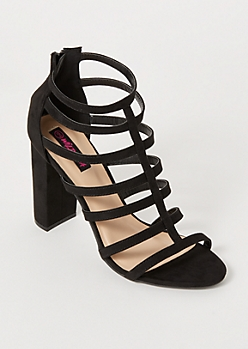 Black Faux Suede Caged Heels