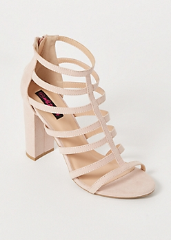 Pink Faux Suede Caged Heels