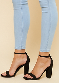 Black Open Toe Ankle Strap Block Heels