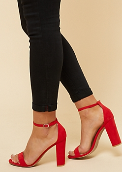 Red Open Toe Ankle Strap Block Heels