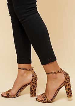 Leopard Print Open Toe Ankle Strap Block Heels