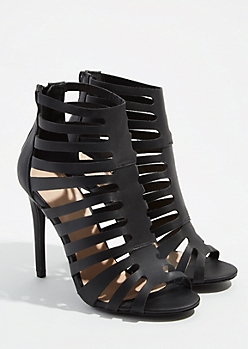 Black Strappy Peep Toe Stiletto Heels