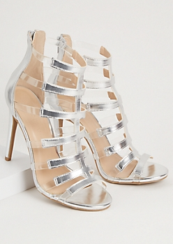 Silver Clear Strappy Peep Toe Stiletto Heels