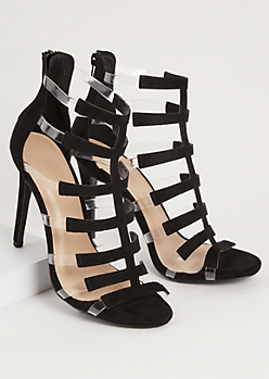 Black Clear Strappy Peep Toe Stiletto Heels