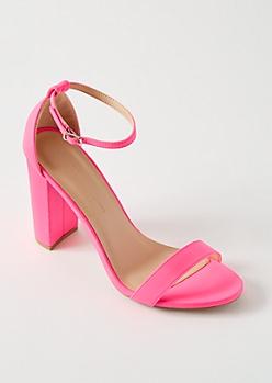 Neon Pink Open Toe Ankle Strap Heels