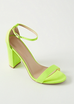 Neon Yellow Open Toe Ankle Strap Heels