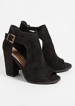 Black Peep Toe Cutout Heels