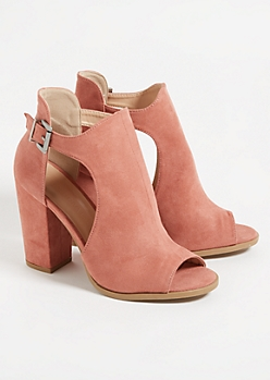 Medium Pink Peep Toe Cutout Heels