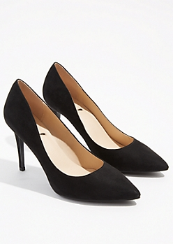 Black Faux Suede Pointed Toe Stiletto Heels