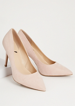 Nude Faux Suede Pointed Toe Stiletto Heels