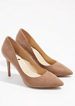 Taupe Faux Suede Pointed Toe Stiletto Heels