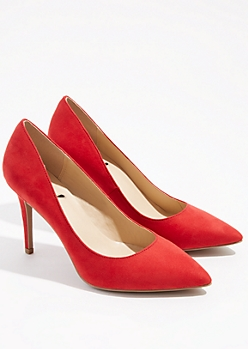 Red Faux Suede Pointed Toe Stiletto Heels