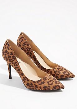 Leopard Print Faux Suede Pointed Toe Stiletto Heels