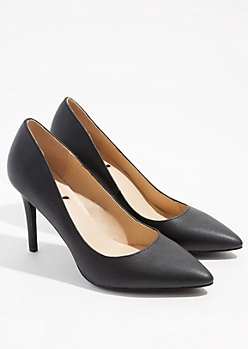 Black Faux Leather Pointed Toe Stiletto Heels