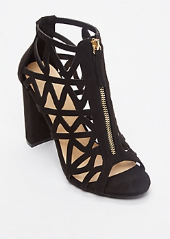 Black Cutout Zipper Front Heels