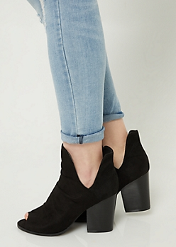 Black Peep Toe Slouchy Booties