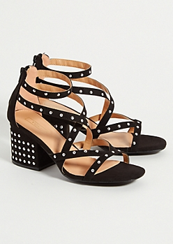 Black Studded Strappy Block Heels