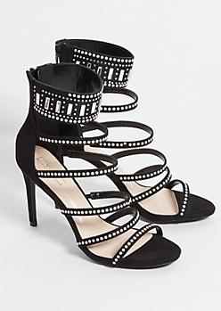 Black Rhinestone 6 Strap Stiletto Heels