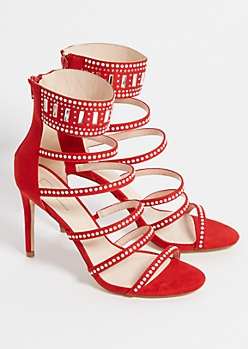 Red Rhinestone 6 Strap Stiletto Heels