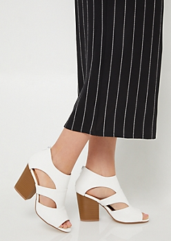 White Cutout Side Peep Toe Booties