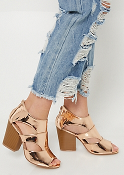 Rose Gold Cutout Side Peep Toe Booties