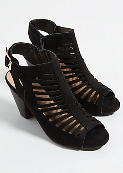 Black Cutout Peep Toe Cone Heels