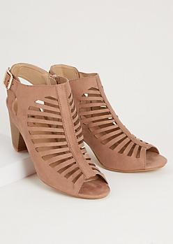 Taupe Cutout Peep Toe Slingback Heels