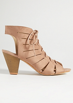 Taupe Faux Suede Lace Up Peep Toe Heels