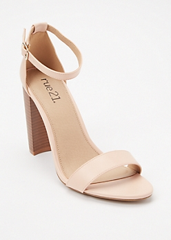 Nude Single Strap Stacked Heels